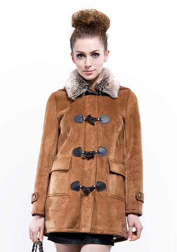 cheap quality fashion coffee suede and faux rex fur collar middle coat free shipping