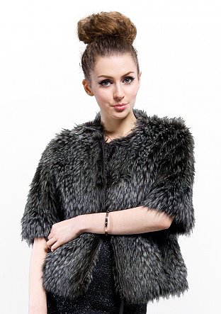 cheap quality fashion black faux wolf fur short coat online free shipping