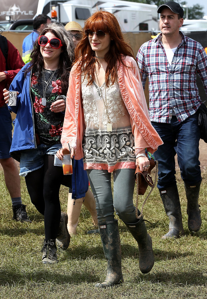 Florence Welch gave her festival look aboho spin, layering loose, flowy pieces.