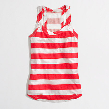 Factory stripe cotton-linen racerback tank
