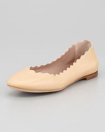 Chloe Scalloped Leather Ballerina Flat, Beige