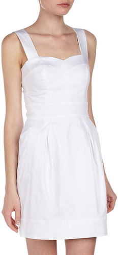 French Connection Sweetheart Poplin Dress, White