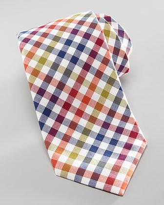 Neiman Marcus Box Check Cotton Tie, Orange/Navy