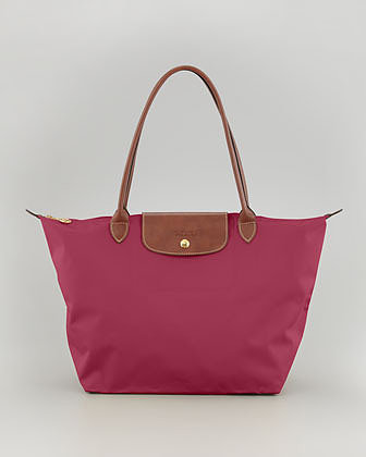 Longchamp Le Pliage Large Nylon Shoulder Tote Bag, Fuchsia