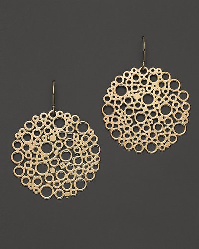 14K Yellow Gold Large Bubble Disc Earrings