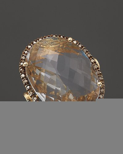 14K Yellow Gold Large Oval Crystal Quartz & Champagne Diamond Ring, .38 ct. t.w.