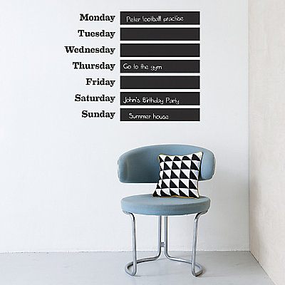 ferm LIVING This Week Wall Sticker With Chalk, Black