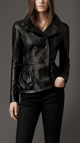 Peplum Detail Leather Jacket