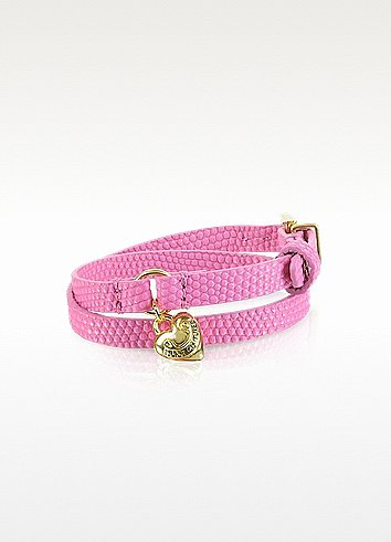 Juicy Couture Double Wrap Pink Leather Bracelet