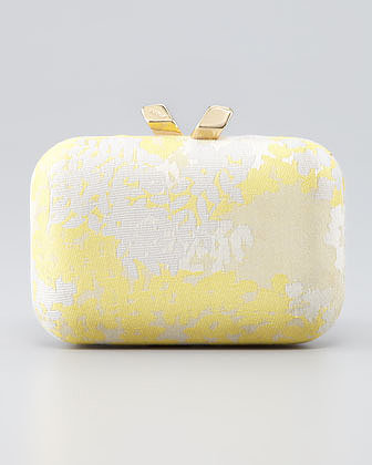 Kotur Margo Floral Jacquard Minaudiere, Yellow
