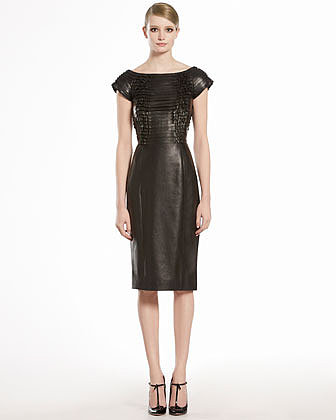 GUCCI Napa Leather Ruched Dress