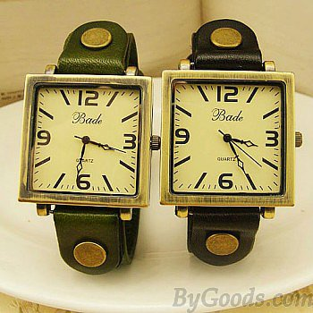 Square Bronze Retro Punk Leather Watch