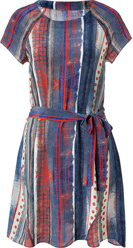 Suno Blue-Multi Striped Silk Dress