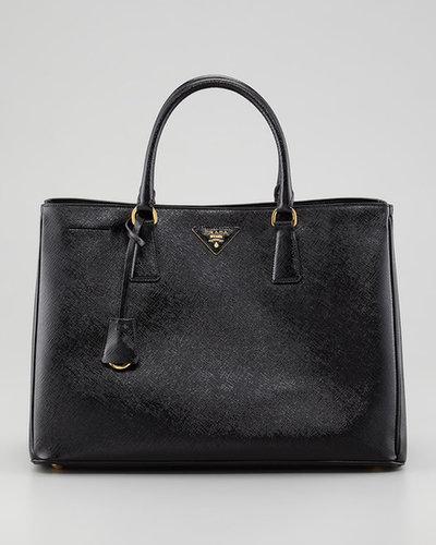 Prada Saffiano Vernice Gardener's Tote Bag, Nero