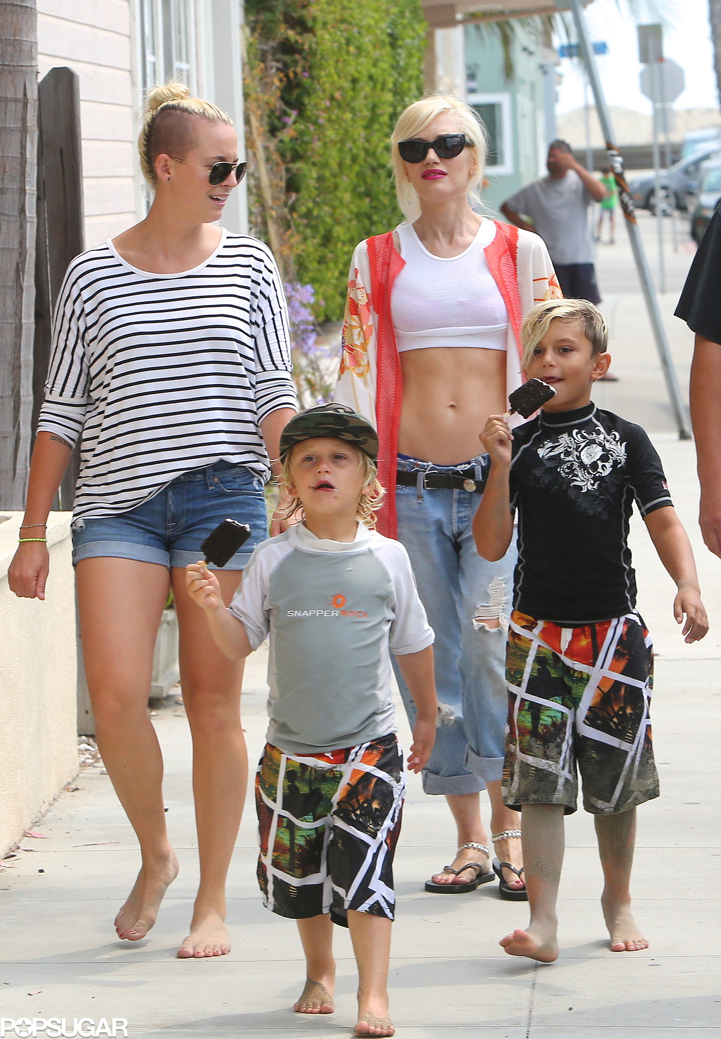 Gwen Stefani walked with her sons and a friend.