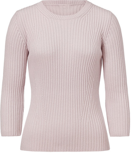 Jil Sander Navy Wool-Cashmere Ribbed 3/4 Sleeve Pullover