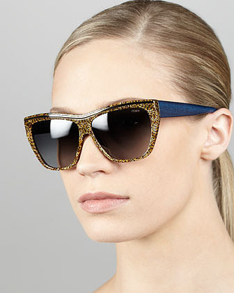 Fendi Mosaic Enamel Sunglasses, Brown/Blue