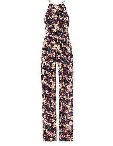 Saloni Iris-print silk jumpsuit