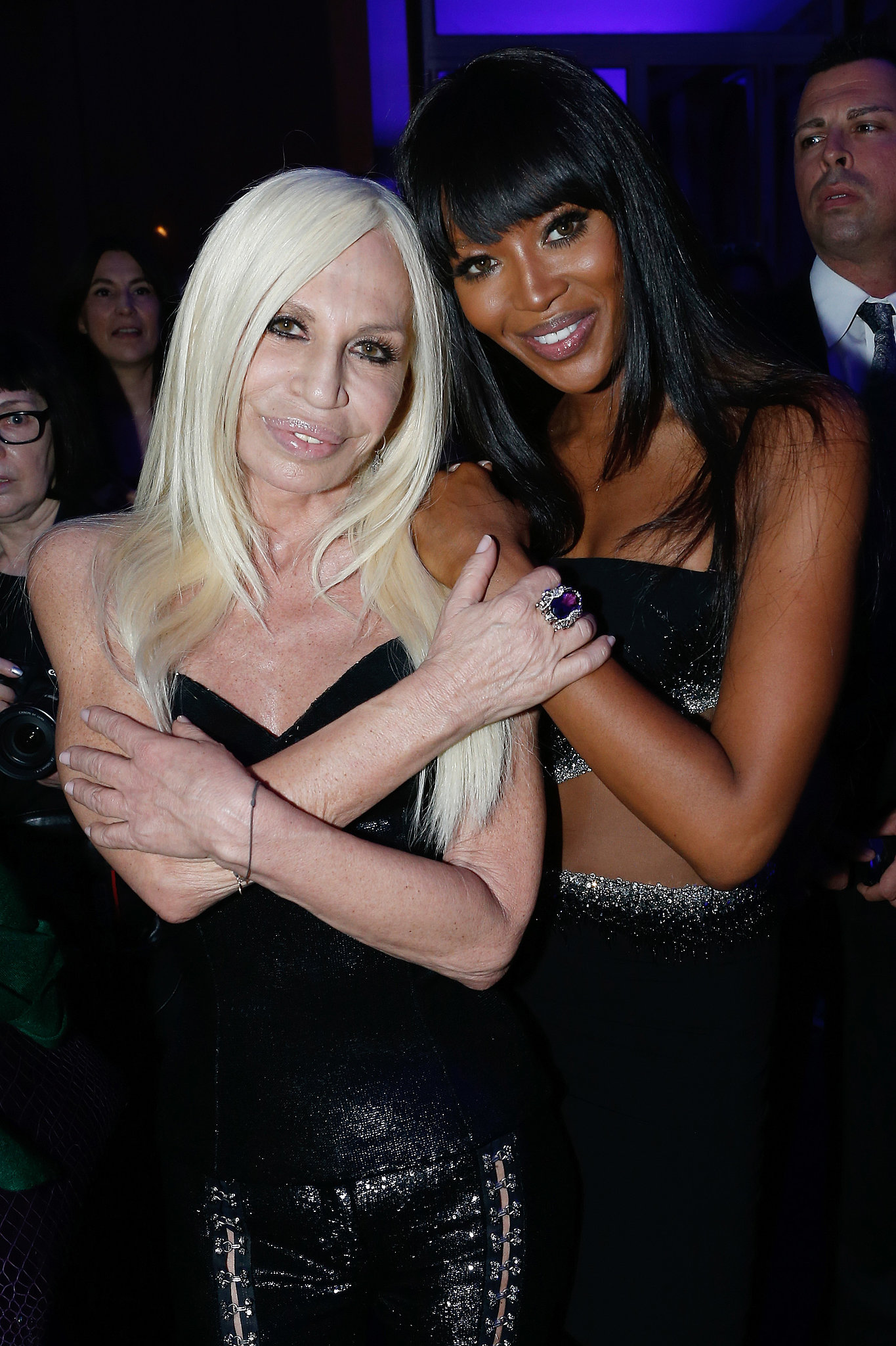 After taking to the runway, Naomi Campbell joined the woman of the hour backstage at the Atelier Versace show.