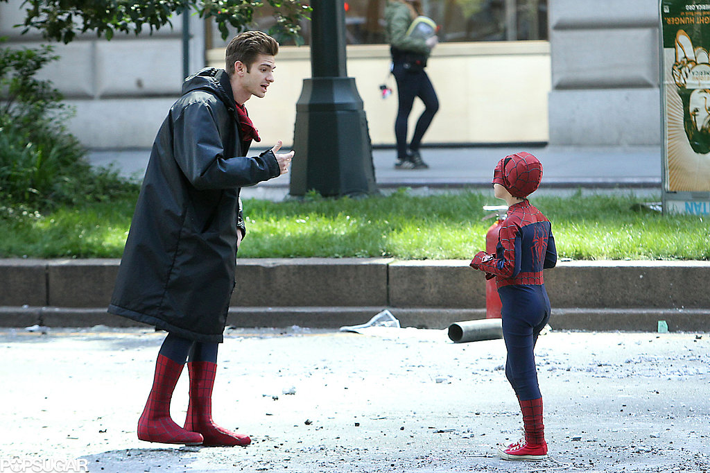 Andrew Garfield hung out with his younger costar Jorge Vegas on the set of The Amazing Spider-Man 2 in NYC.