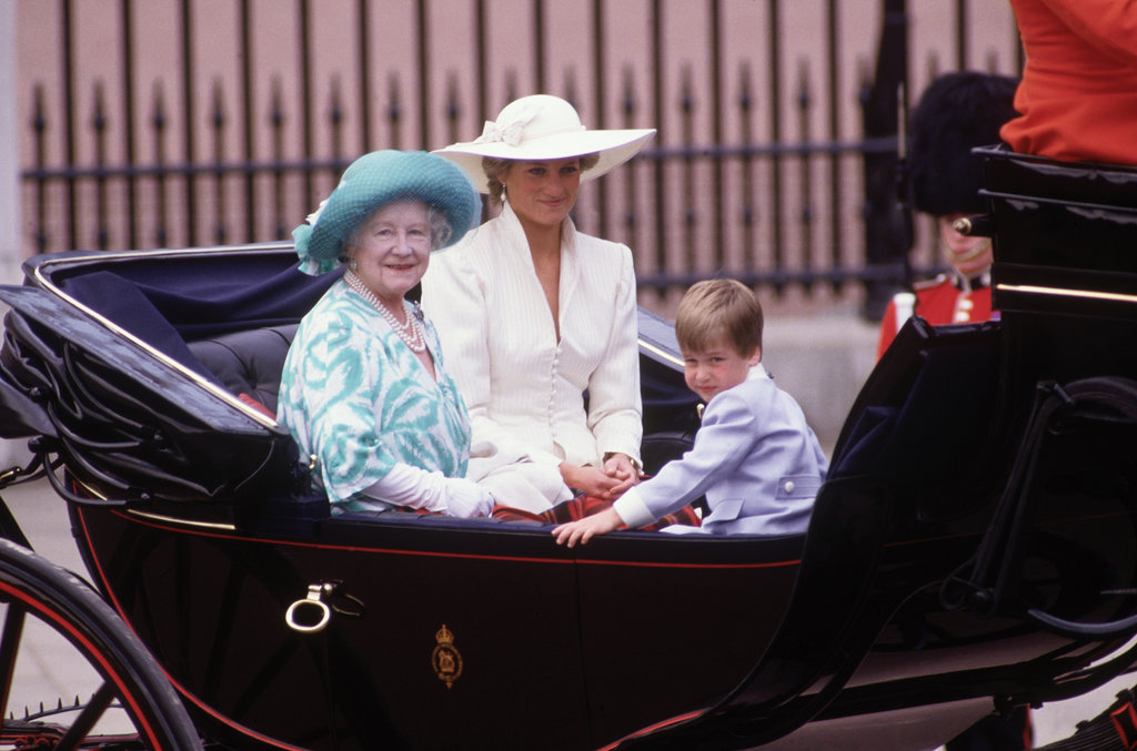 Princess Diana shared a carriage with Prince William and Queen Elizabeth The Queen Mother in London in June 1987.