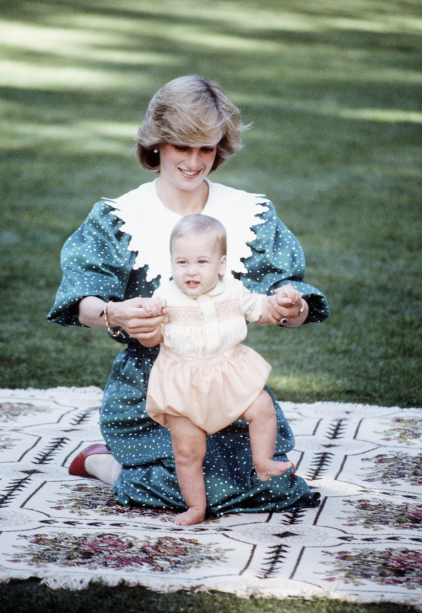 In April 1983, Princess Diana played with an adorable Prince William while in Auckland, New Zealand.