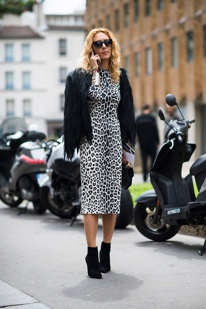 Always sexy and forever in style, a black-and-white leopard sheath is a no-brainer.