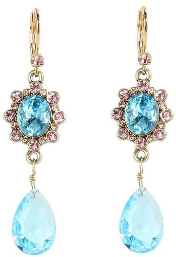 Betsey Johnson - Heart and Bow Gem Drop Earrings (Blue) - Jewelry