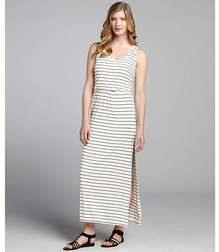 Wyatt black and ivory striped stretch jersey maxi tank dress