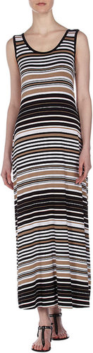 Neiman Marcus Maxi Tank Dress, Black/White/Brown