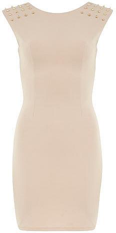 Beige studded bodycon dress