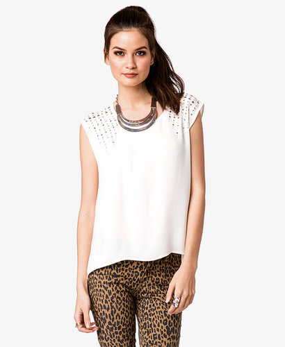 FOREVER 21 Rhinestoned & Studded Georgette Top
