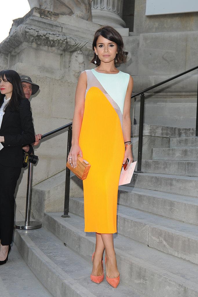 Street-style star Miroslava Duma picked a two-toned sheath for the Giambattista Valli show.