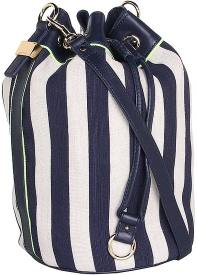 Juicy Couture - Willow Canvas Bucket Crossbody (Indigo Stripe) - Bags and Luggage