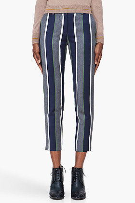 SUNO Cropped Navy Striped Pants