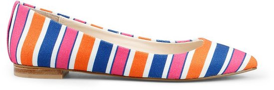 Striped Canvas Pointed Toe Flat