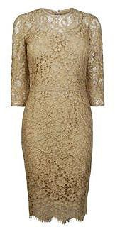 Dolce And Gabbana DOLCE AND GABBANA Lace Three Quarter Sleeve Pencil Dress