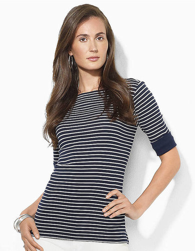 LAUREN RALPH LAUREN Elbow-Sleeve Striped Shirt