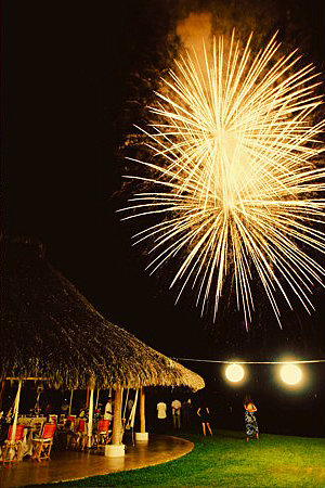 This Día de Los Muertos-themed wedding in Sayulita, Mexico, was topped off with fireworks. Photo by Jillian Mitchell via Project Wedding