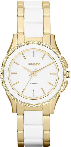 DKNY Watch, Women's White Ceramic and Gold Ion-Plated Stainless Steel Bracelet 32mm NY8829