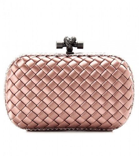 Bottega Veneta KNOT SATIN BOX CLUTCH WITH SNAKESKIN