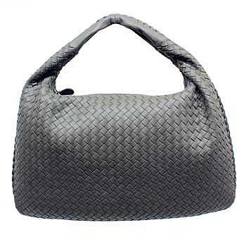 "Bottega Veneta ""115654"" Grey Leather Woven Hobo"