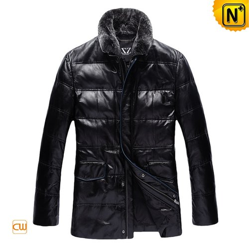 Black Leather Down Filled Jacket CW832048 - cwmalls.com