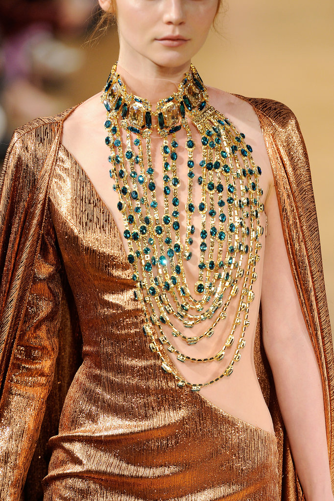 The necklace as ornamentation at the Tony Yaacoub Haute Couture Fall 2013 show.