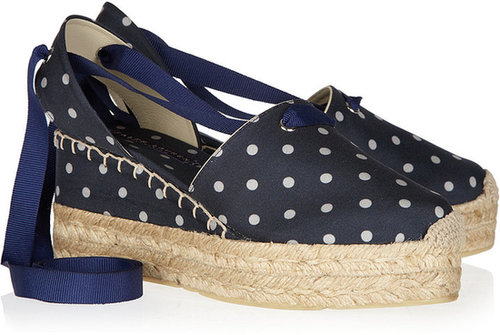 Ralph Lauren Collection Uma polka-dot canvas and rope espadrilles