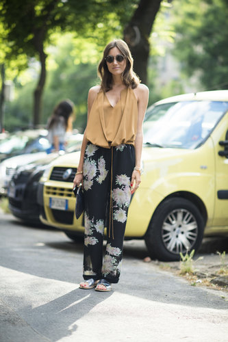 There's nothing about her floaty top and printed pants that didn't feel seasonal. We want the look, head to toe! Source: Le 21ème | Adam Katz Sinding
