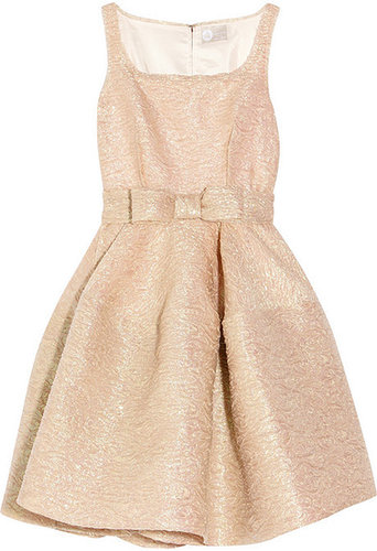 Lanvin Bow-embellished textured-crepe dress