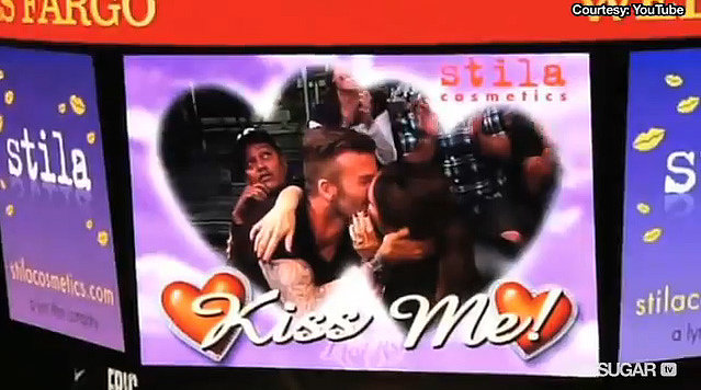 David and Victoria were caught on the kiss cam at an LA Lakers game in May 2012.