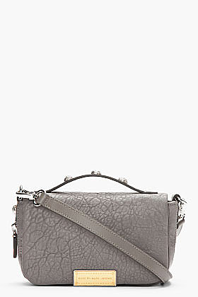 MARC BY MARC JACOBS Cylinder Grey Textured Leather Convertible Clutch