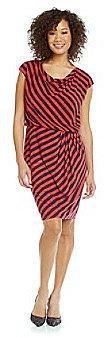 EvanPicone Evan-Picone® Cowlneck Striped Blouson Dress